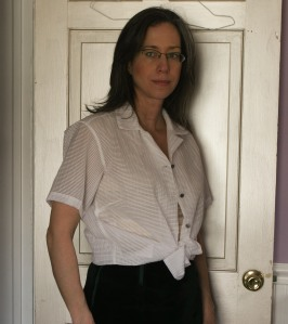 Here I am trying on the shirt-plus-bustier combo.  It's hard to photograph layered clothing.