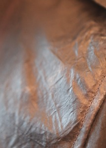 closeup of the waxed fabric.
