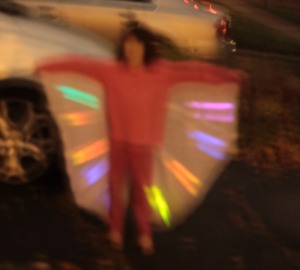 Here's the hummingbird costume in the dark with glow sticks inserted.  Sans mask.