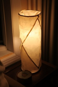 """""""before"""" pic of the formerly lovely silk taffeta lampshade"""