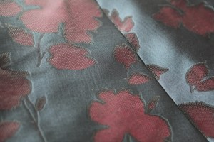 closeup of the silk gazar with sheer floral motif
