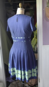 Back view.  If it look a little off, that's because the form is bigger than me, so the dress does not zip up all the way.