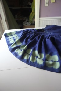 dye effect at hem.  I did not take photos of my process, but it involved accordion pleating, 2 jar lids, and clamps.